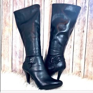 Nine West black platform knee-high boots size 8